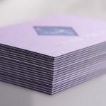 επαγγελματικές κάρτες, Λεπτομέρεια σόκορο, από λαμινέιτ κάρτα με έγχρωμο ενδιάμεσο χαρτί.