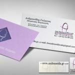 επαγγελματικές κάρτες, Κάρτες λαμινέιτ ΑΝΔΡΕΑΝΙΔΗΣ, σε μοναδικό χαρτί, κοπτικό, θερμοτυπία ασημί - μόβ & τοπικό UV.