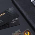 επαγγελματικές κάρτες, Κάρτες λαμινέιτ UTECO ΑΒΕΕ, σε μοναδικό χαρτί, κοπτικό, θερμοτυπία μπρονζέ & τοπικό UV.