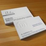 επαγγελματικές κάρτες, σε ειδικά χαρτιά και γκοφρέ.