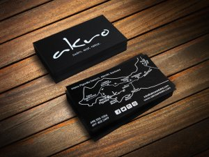 akro santorini, κάρτα λαμιναριστή, λευκή εκτύπωση, βαθυτυπία