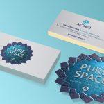 επαγγελματικές κάρτες, pure space by aether Κάρτες λαμιναριστές με θερμοτυπία - βαθυτυπία και εκτύπωση 2όψεων.